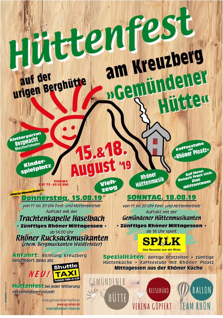 Hüttenfest am 15. und 18.08.2019